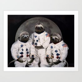 Astronaut Sloths on the way to the moon Art Print