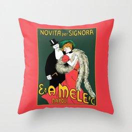 Mele Napoli Italian belle epoque ladies fashion Throw Pillow