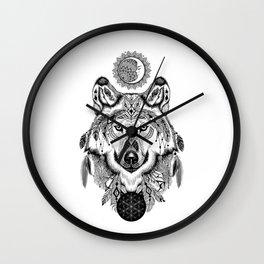 Bohemian Celestial Wolf Wall Clock