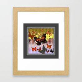 Abstracted Black & Orange Monarch Butterflies Grey Art Framed Art Print
