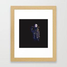 Jason Voorhees in pixels, dark Framed Art Print