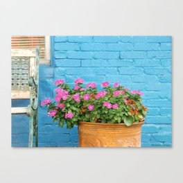 Bright Blue Brick Wall Canvas Print
