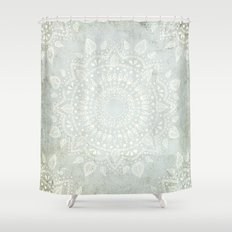 Powder Blue Mandala Shower Curtain