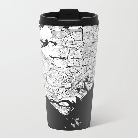 Singapore Map Gray Metal Travel Mug