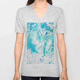 Hand painted aqua teal white watercolor splatters Unisex V-Neck