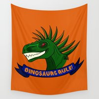 dinosaurs Wall Tapestries featuring Dinosaurs Rule! by DemisaurusArt