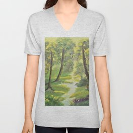 Happy forest with animals Unisex V-Neck