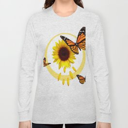ORANGE MONARCH BUTTERFLIES & SUNFLOWER  PATTERN Long Sleeve T-shirt