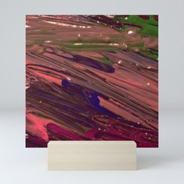 Abstract Painting - Red / Purple / Pink Wet Paint Swipes / Stripes Mini Art Print
