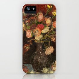 Vase with Chinese Asters and Gladioli by Vincent van Gogh iPhone Case