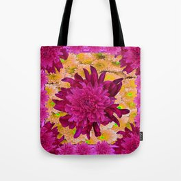 Stylized  Burgundy Purple & Yellow Chrysanthemums Floral Garden Tote Bag