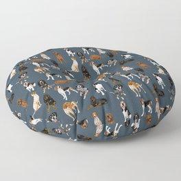 Coonhounds on Navy Floor Pillow