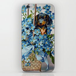 Dachshund and Forget-Me-Nots iPhone Skin