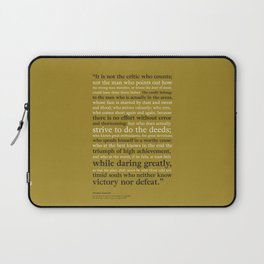 Man in the Arena / Theodore Roosevelt Gold & Black Laptop Sleeve