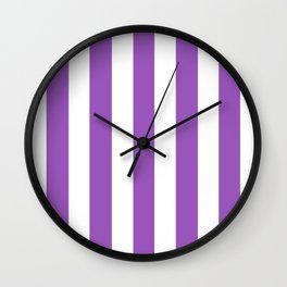 Deep lilac - solid color - white vertical lines pattern Wall Clock