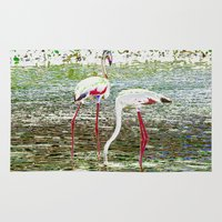 flamingos Area & Throw Rugs featuring Flamingos by CrismanArt
