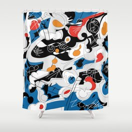 sizzle kinks of curved lines Shower Curtain
