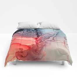 Undertow Meets Lava- Alcohol Ink Painting Comforters