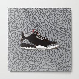 Jordan 3 Black Cement Metal Print