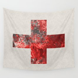Medic - Abstract Medical Cross In Red And Black Wall Tapestry