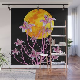 PINK ASIATIC STAR LILIES MOON FANTASY Wall Mural