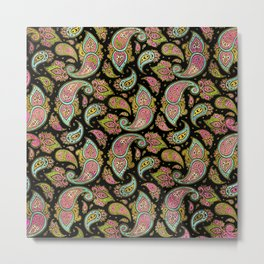 Pink and Blue glitter Gold Paisley  on black Metal Print
