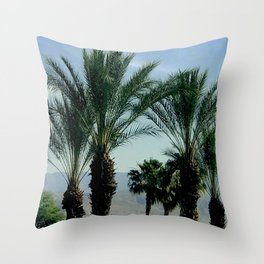 Tranquil Palm Trees, Mountains and Sky Scenic Throw Pillow