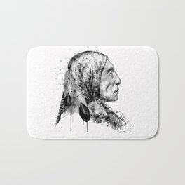 Native American Side Face Black and White Bath Mat