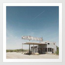 Gas Station, Bowie, AZ Art Print