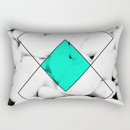 Modern abstract black white rocks stone photography geometric shapes turquoise color block Rectangular Pillow
