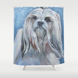 Lhasa Apso dog art portrait from an original painting by L.A.Shepard Shower Curtain