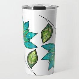 Blue Floral Pattern Travel Mug