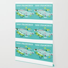 San Francisco, California - Collage Illustration by Loose Petals Wallpaper