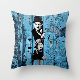 Chaplin and the kid - Urban ART Throw Pillow
