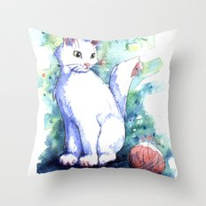 Playing Kitty Throw Pillow
