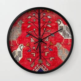 Persian Floral Rug With Several Birds Probably Quail Wall Clock
