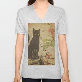 Chat Noir - Black Cat French Collage Unisex V-Neck