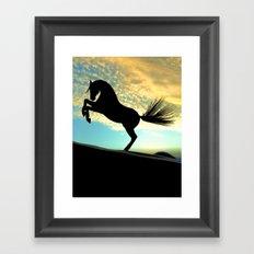 Silhouette Horse Framed Art Print
