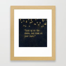 Look up at the stars, not down at your feet - gold glitter effect Typography Framed Art Print