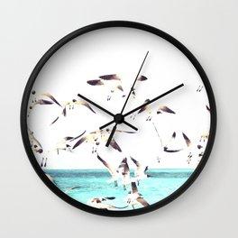 Seagulls Illustration Wall Clock