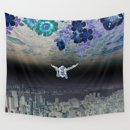 A Skydiver Between Two Parallel Universes Wall Tapestry