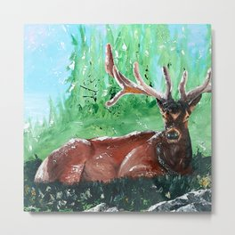 "Deer - Animal - ""Time to relax"" - by LiliFlore Metal Print"