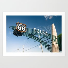 Tulsa Oklahoma Vintage Route 66 Sign - Color Art Print