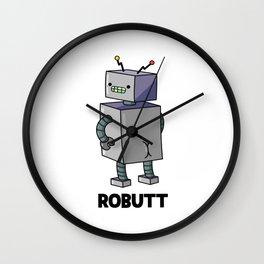 Robutt Cute Cheeky Robot Pun Wall Clock