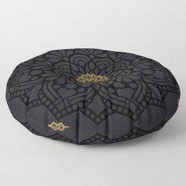 """""""Black & Gold Arabesque Mandala"""" Floor Pillow"""
