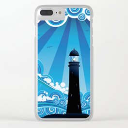 Blue stylized sea with big waves and lighthouse Clear iPhone Case