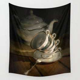 Still life with teapot and set of teacups Wall Tapestry