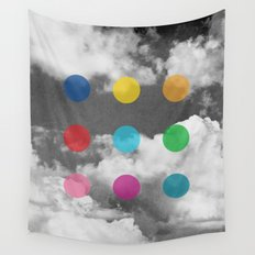 Storm Clouds + Colored Dots Wall Tapestry