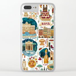 Rome map Clear iPhone Case