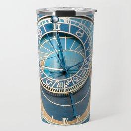 Closeup on Prague Astronomical Clock Travel Mug